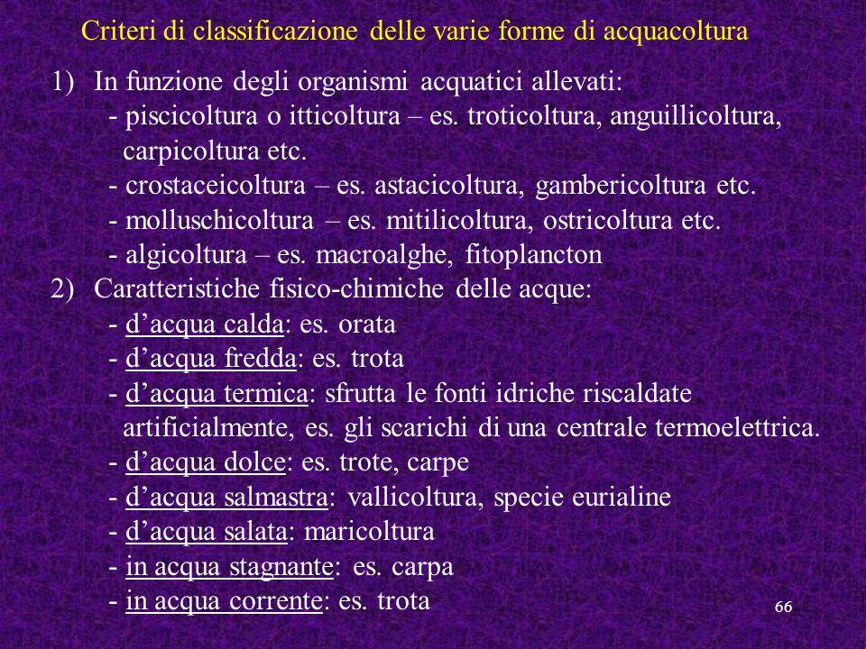 Criteri di classificazione delle varie forme di acquacoltura