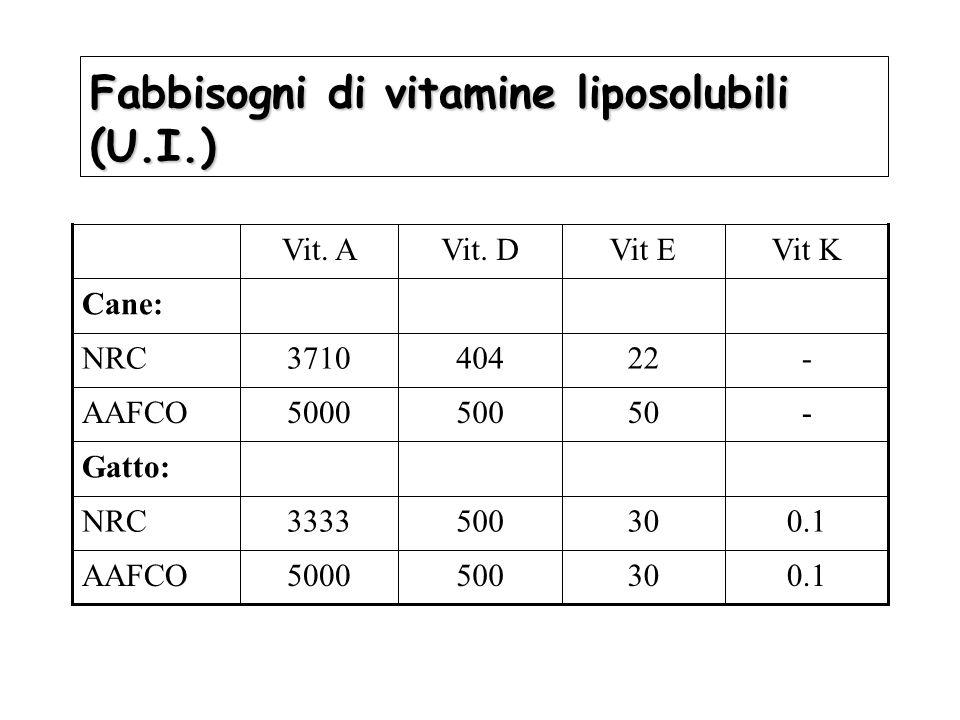 Fabbisogni di vitamine liposolubili (U.I.)