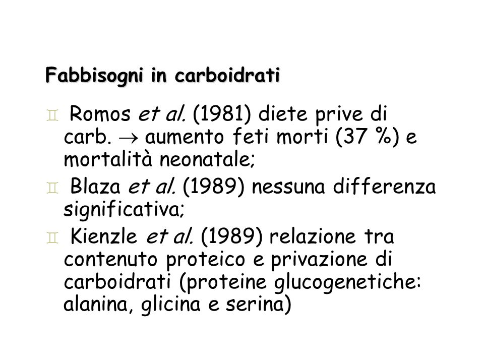 Fabbisogni in carboidrati