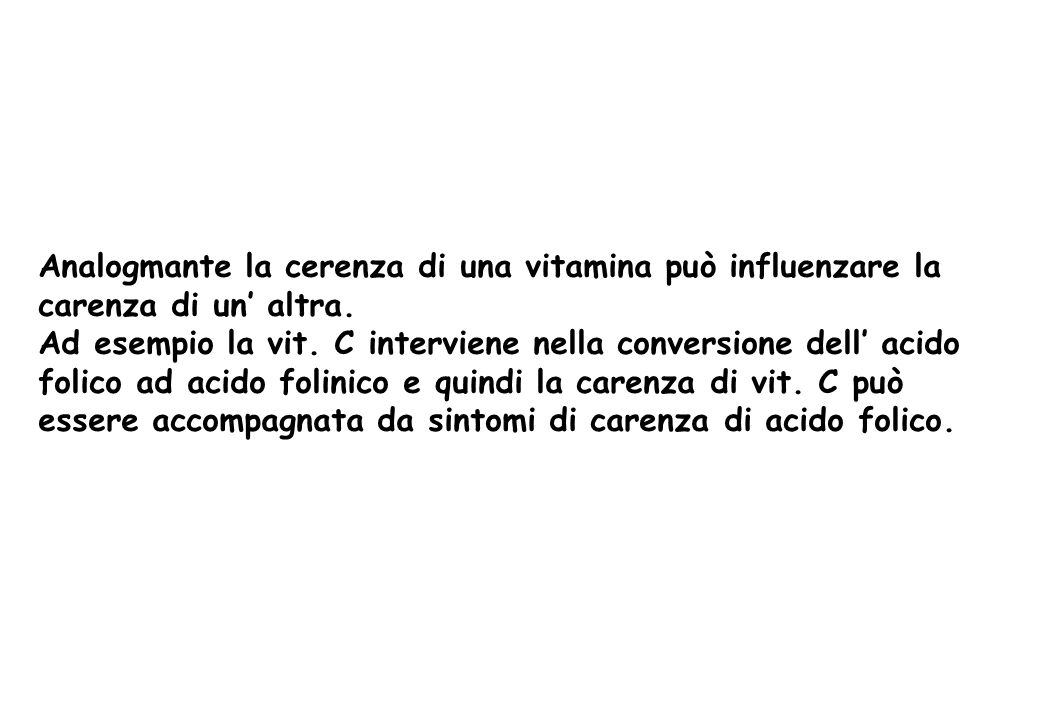Analogmante la cerenza di una vitamina può influenzare la carenza di un' altra.