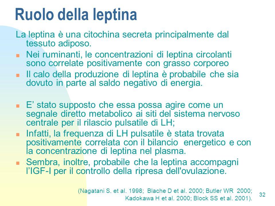 Ruolo della leptina La leptina è una citochina secreta principalmente dal tessuto adiposo.