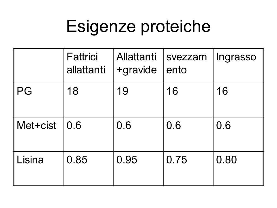 Esigenze proteiche Fattrici allattanti Allattanti+gravide svezzamento