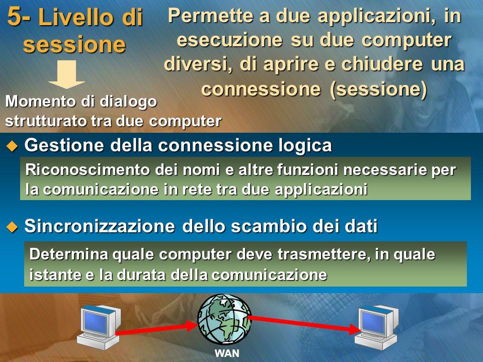 5- Livello di sessione Permette a due applicazioni, in esecuzione su due computer diversi, di aprire e chiudere una connessione (sessione)