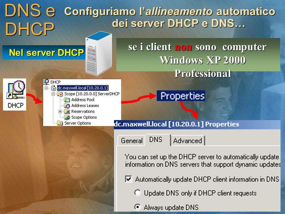 DNS e DHCP Configuriamo l'allineamento automatico dei server DHCP e DNS… se i client non sono computer Windows XP 2000 Professional.