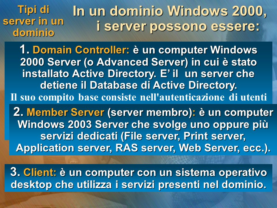 Tipi di server in un dominio