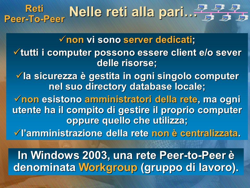 Reti Peer-To-Peer Nelle reti alla pari… non vi sono server dedicati; tutti i computer possono essere client e/o sever delle risorse;
