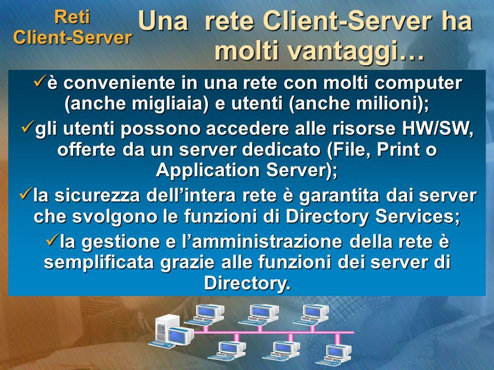 Una rete Client-Server ha molti vantaggi…