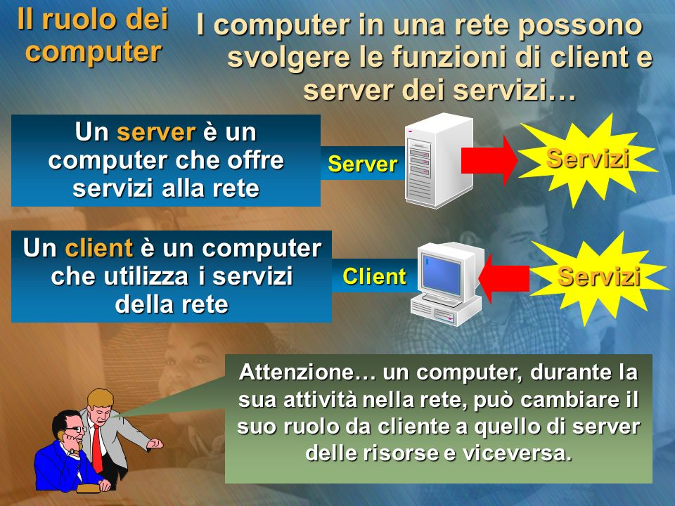 Il ruolo dei computerI computer in una rete possono svolgere le funzioni di client e server dei servizi…
