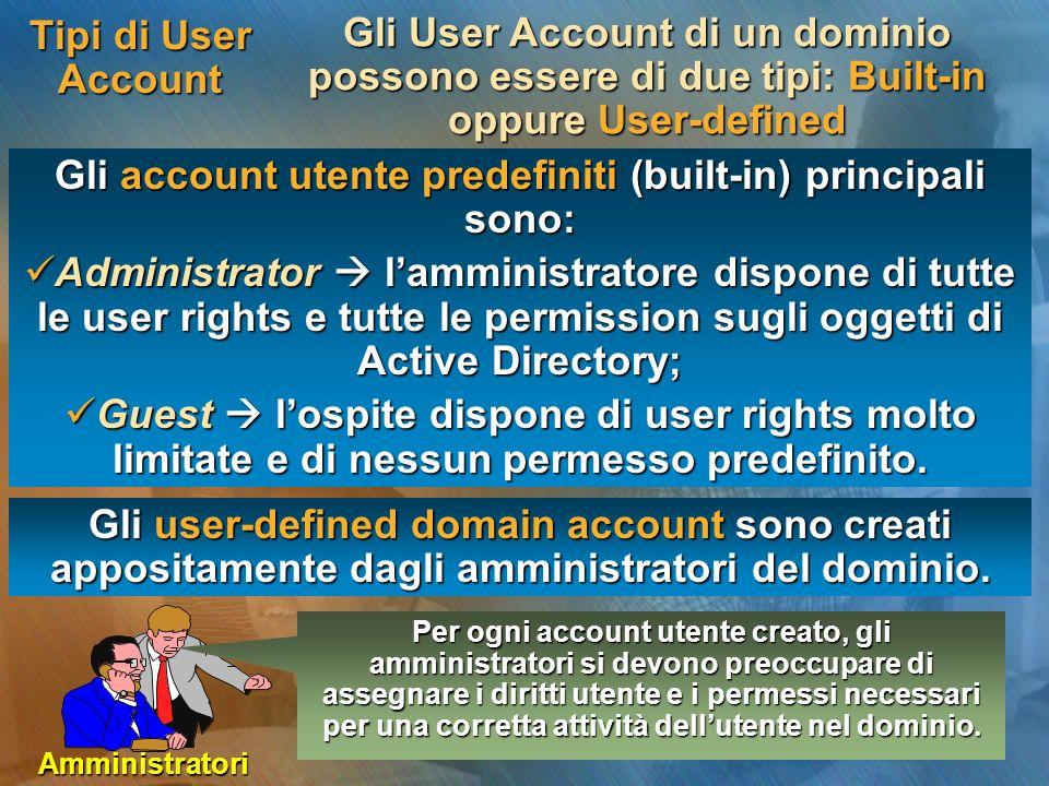 Gli account utente predefiniti (built-in) principali sono:
