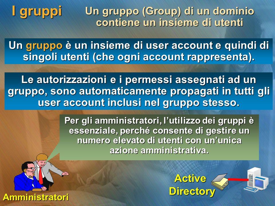 Un gruppo (Group) di un dominio contiene un insieme di utenti