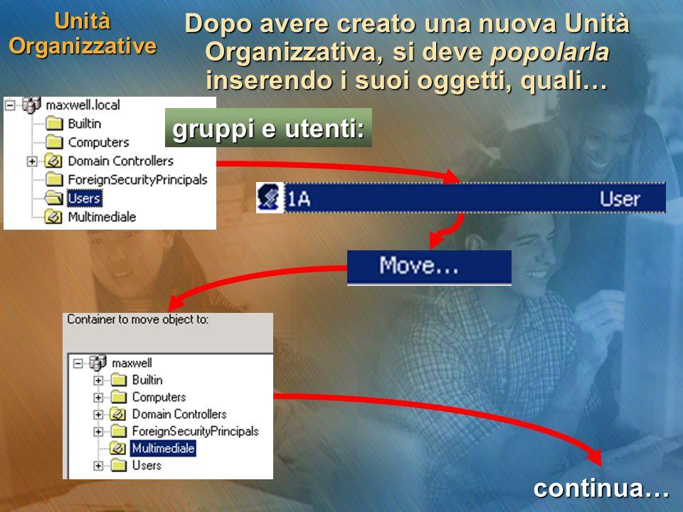 Unità Organizzative Dopo avere creato una nuova Unità Organizzativa, si deve popolarla inserendo i suoi oggetti, quali…