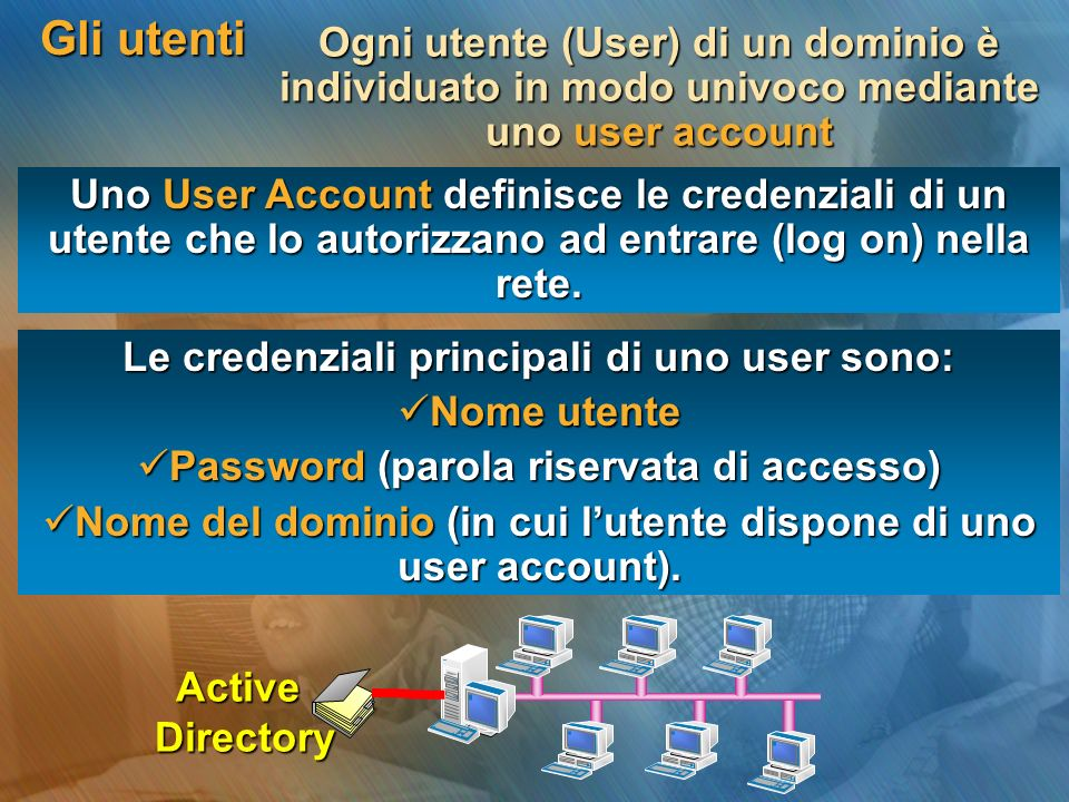 Gli utentiOgni utente (User) di un dominio è individuato in modo univoco mediante uno user account.