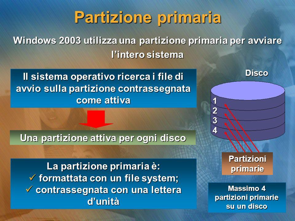 Partizione primariaWindows 2003 utilizza una partizione primaria per avviare. l'intero sistema. Disco.