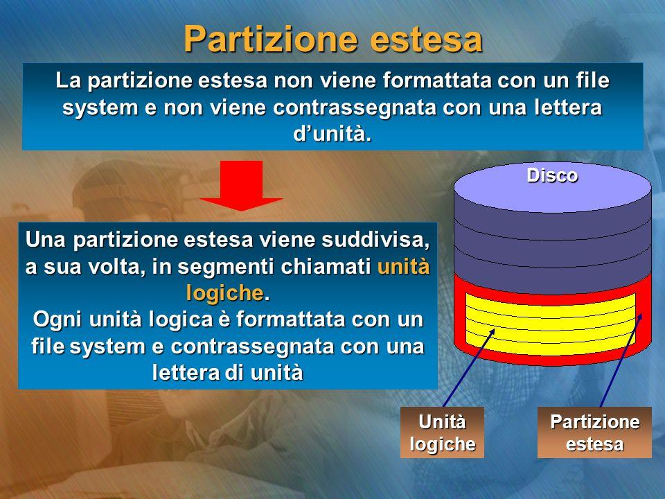 Partizione estesaLa partizione estesa non viene formattata con un file system e non viene contrassegnata con una lettera d'unità.