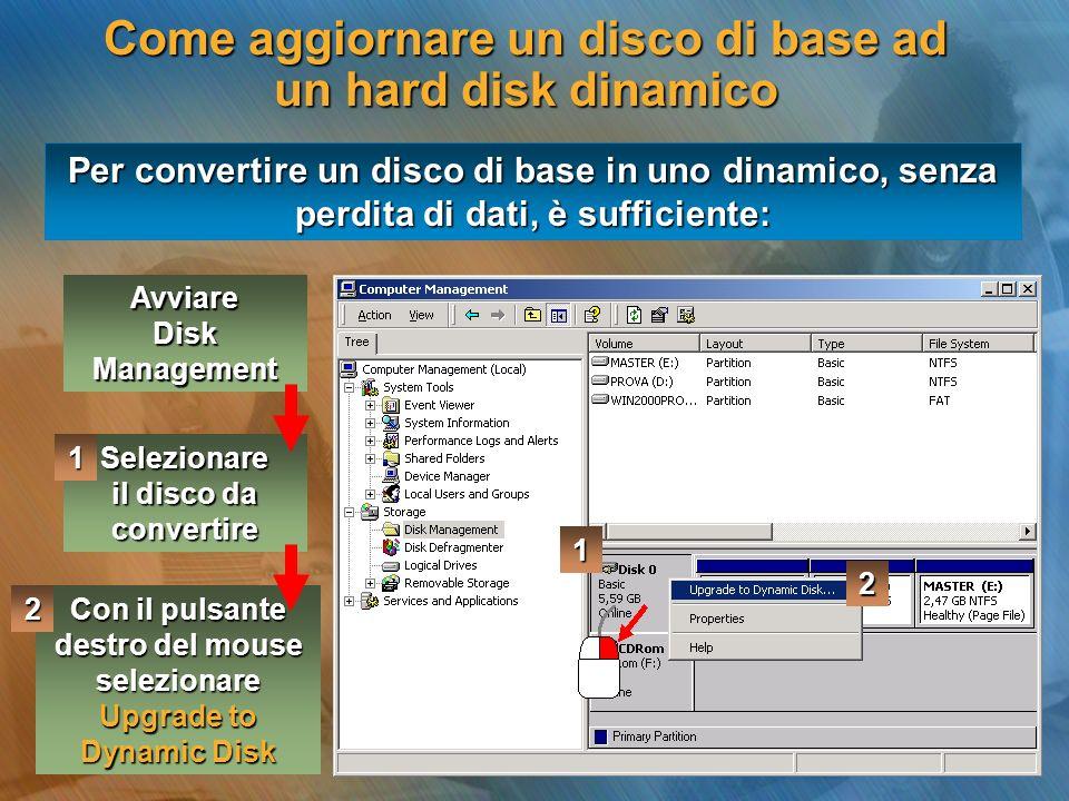 Come aggiornare un disco di base ad un hard disk dinamico