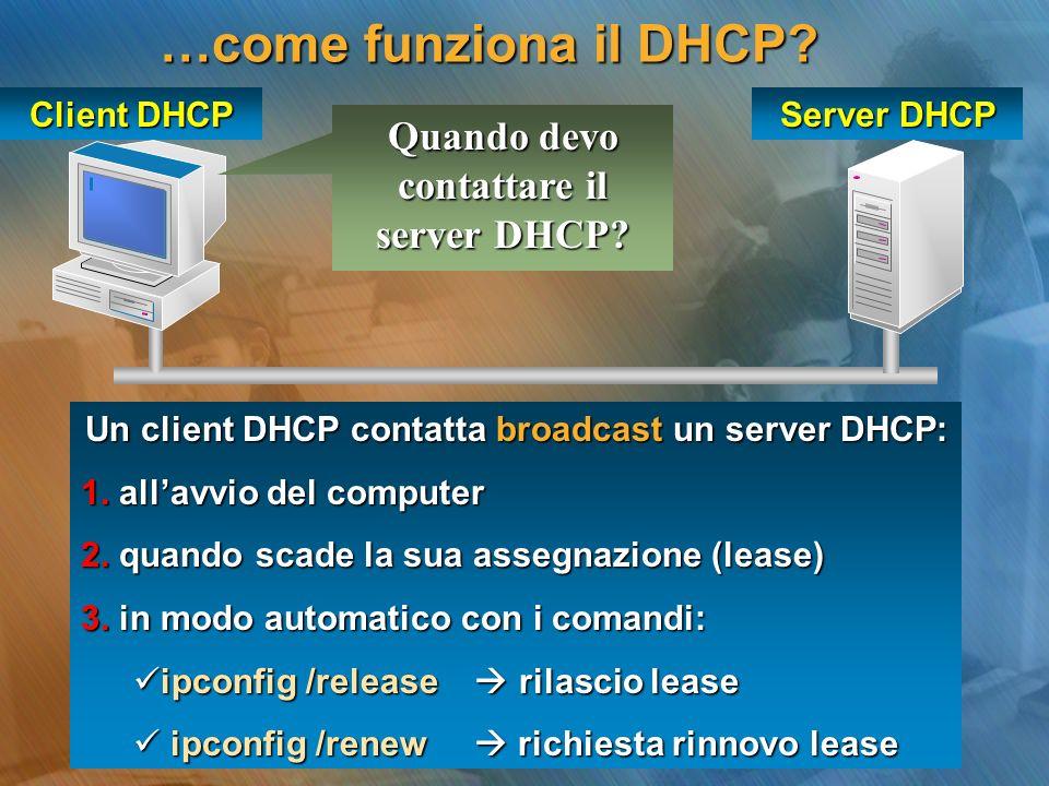 …come funziona il DHCP Quando devo contattare il server DHCP