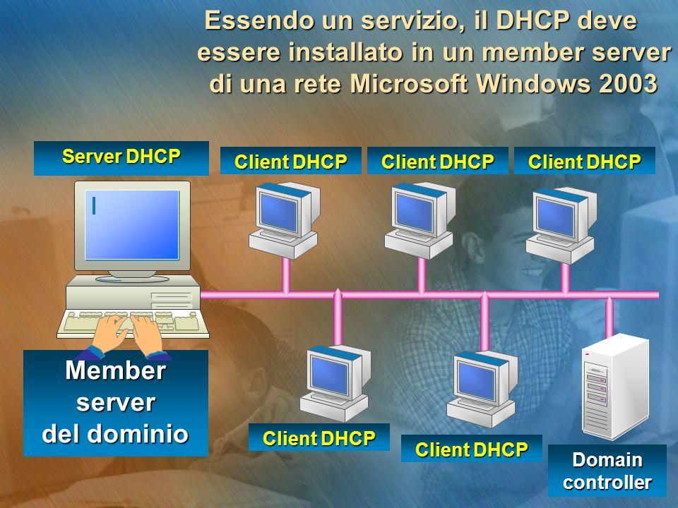 Essendo un servizio, il DHCP deve essere installato in un member server di una rete Microsoft Windows 2003