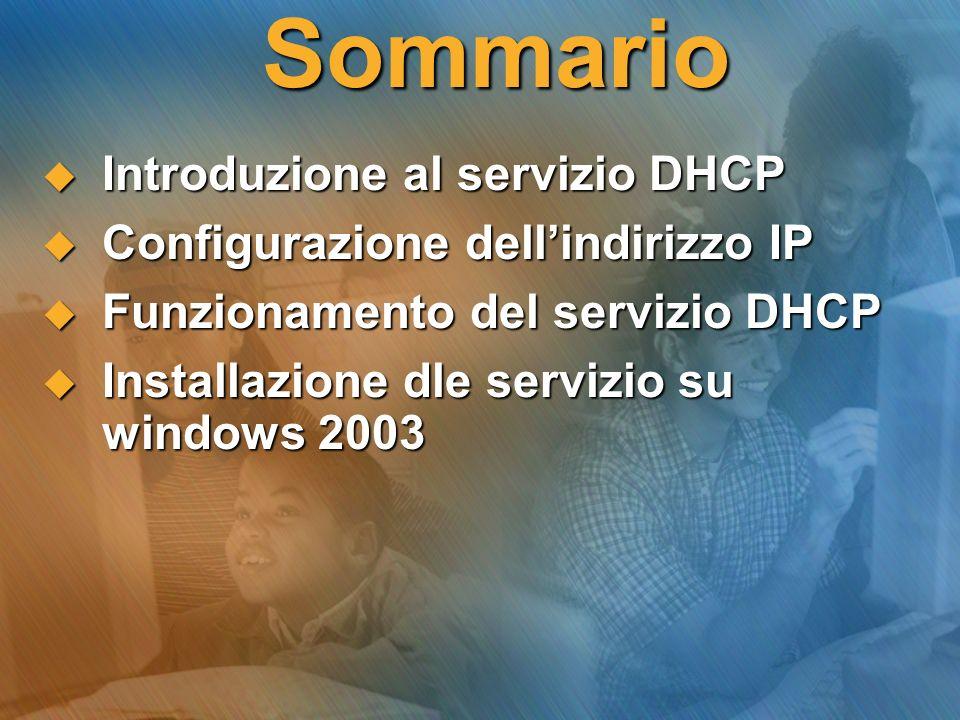 Sommario Introduzione al servizio DHCP