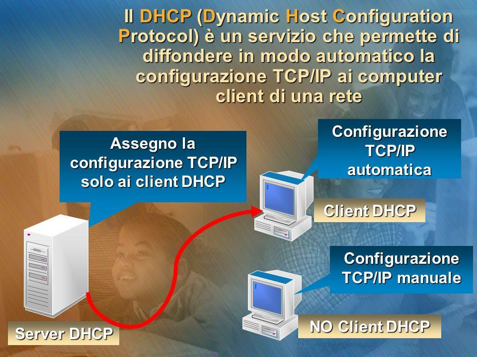 Il DHCP (Dynamic Host Configuration Protocol) è un servizio che permette di diffondere in modo automatico la configurazione TCP/IP ai computer client di una rete