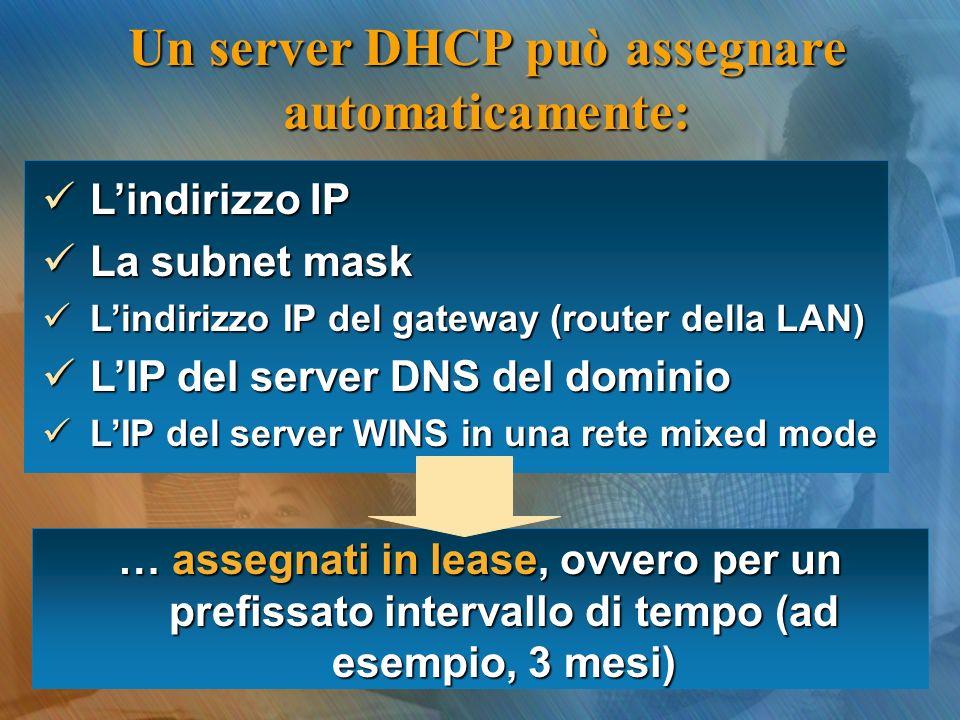 Un server DHCP può assegnare automaticamente: