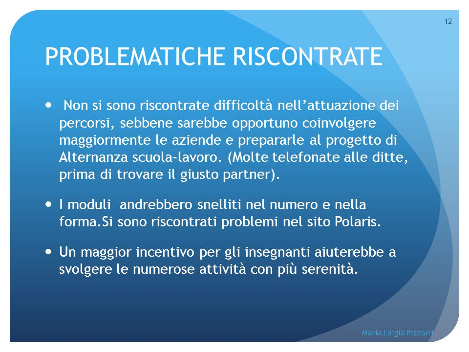 PROBLEMATICHE RISCONTRATE