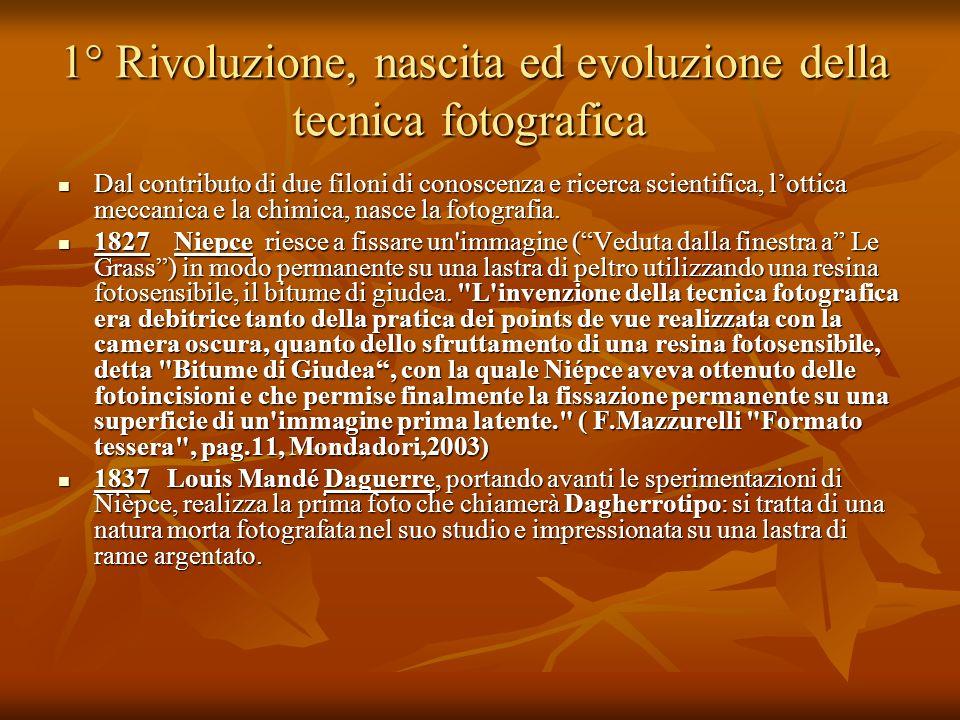 1° Rivoluzione, nascita ed evoluzione della tecnica fotografica
