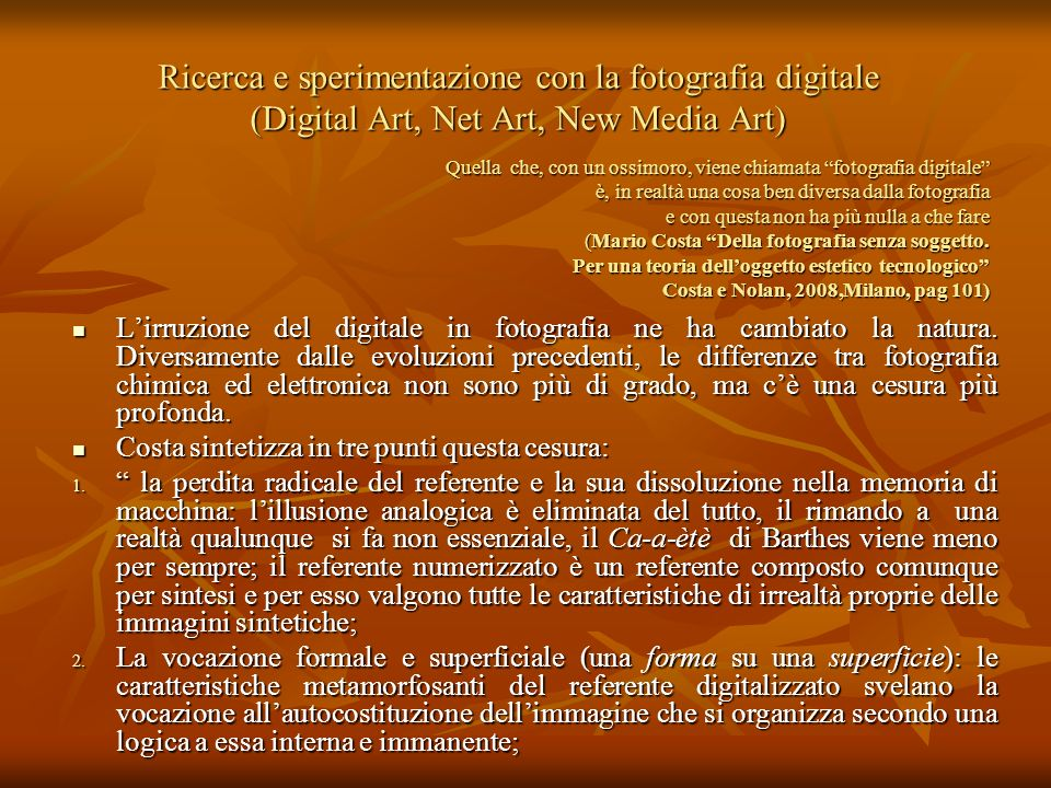 Ricerca e sperimentazione con la fotografia digitale (Digital Art, Net Art, New Media Art)