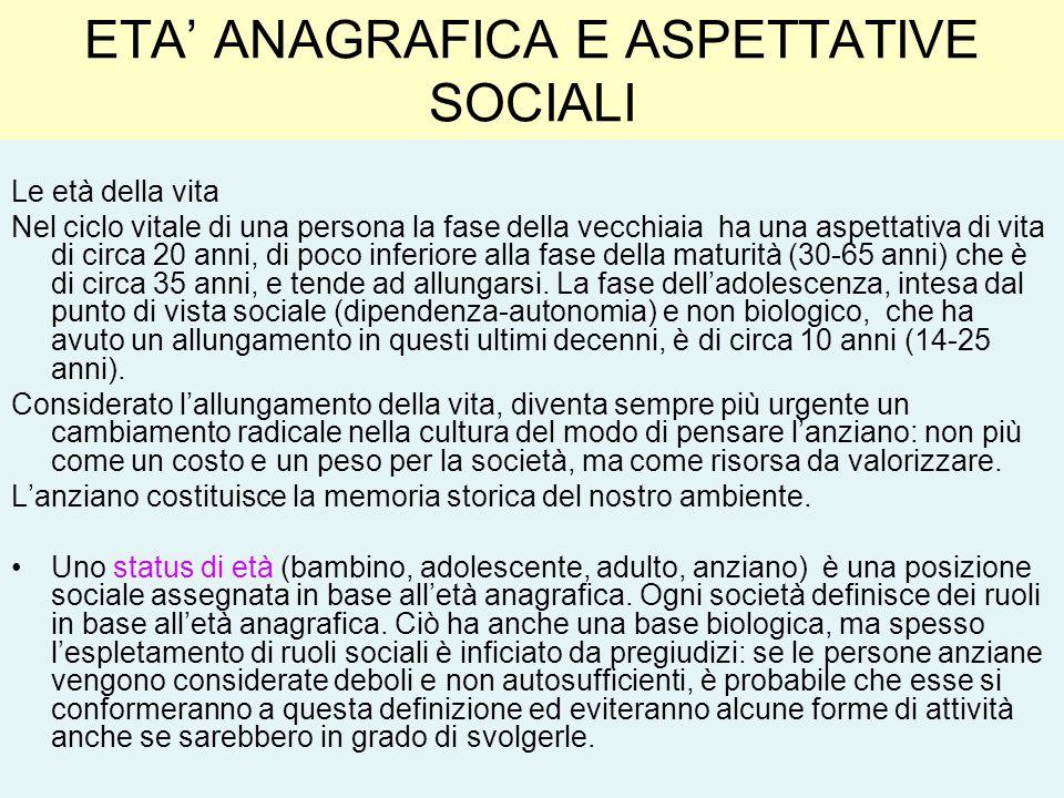 ETA' ANAGRAFICA E ASPETTATIVE SOCIALI