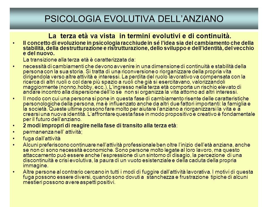 PSICOLOGIA EVOLUTIVA DELL'ANZIANO