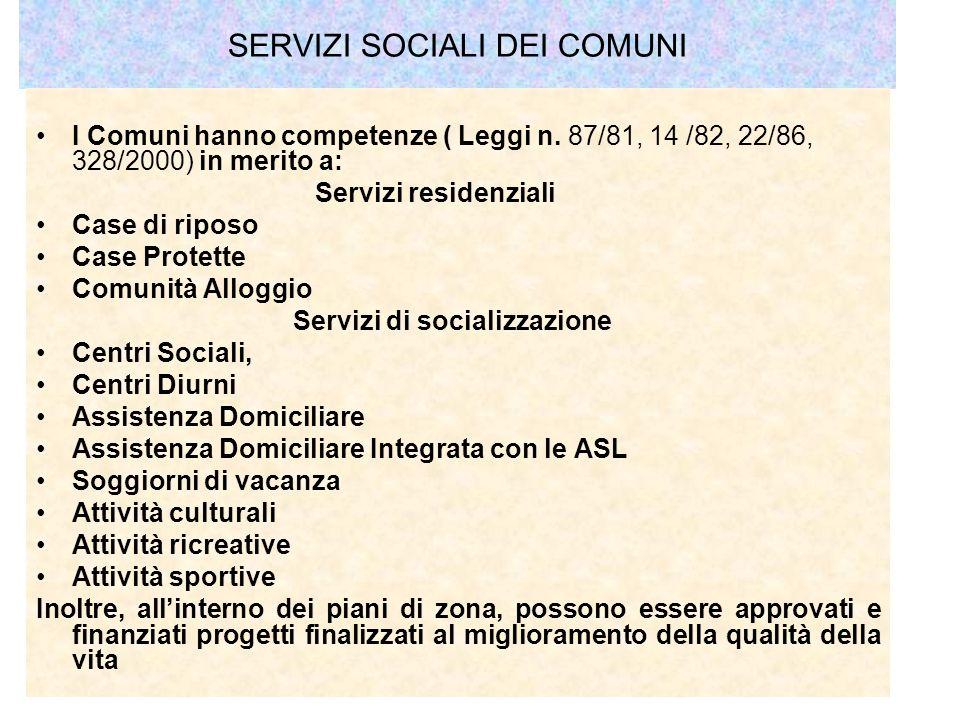 SERVIZI SOCIALI DEI COMUNI