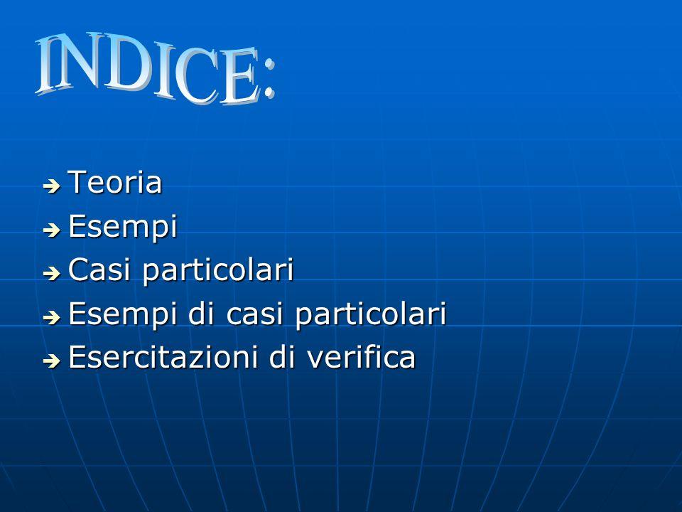 INDICE: Teoria Esempi Casi particolari Esempi di casi particolari