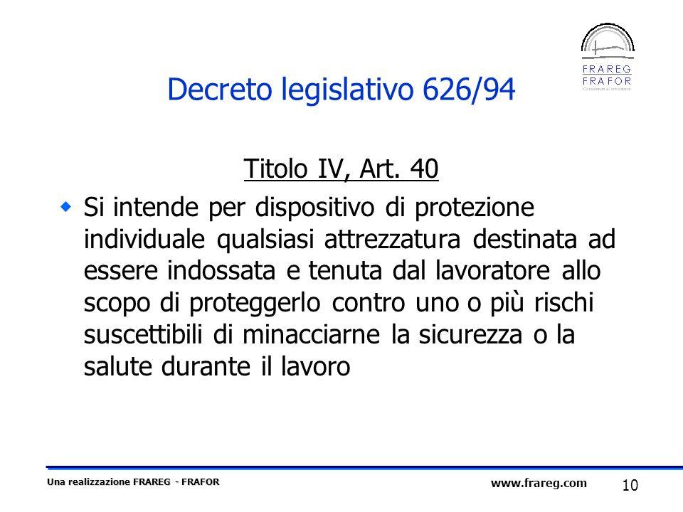 Decreto legislativo 626/94 Titolo IV, Art. 40