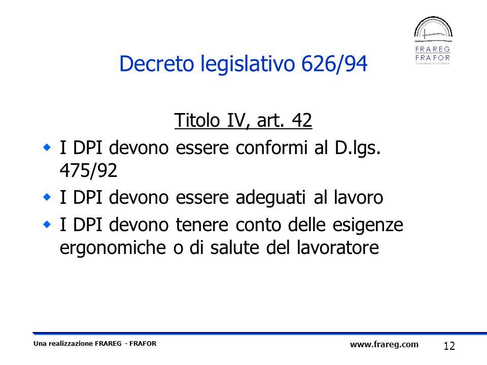 Decreto legislativo 626/94 Titolo IV, art. 42