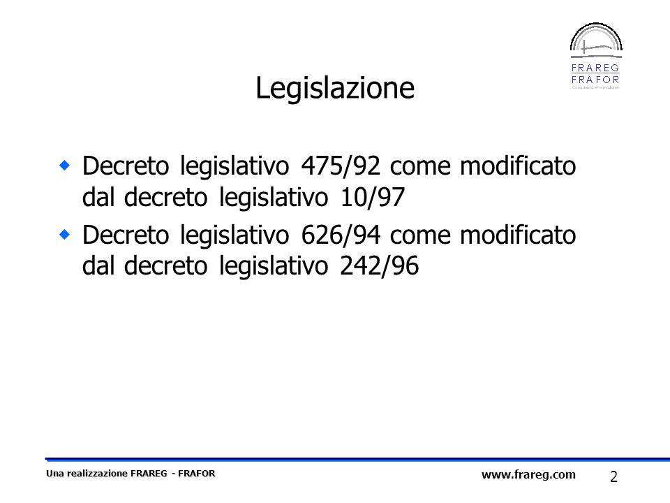 Legislazione Decreto legislativo 475/92 come modificato dal decreto legislativo 10/97.