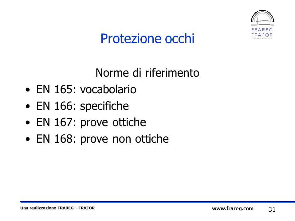 Protezione occhi Norme di riferimento EN 165: vocabolario