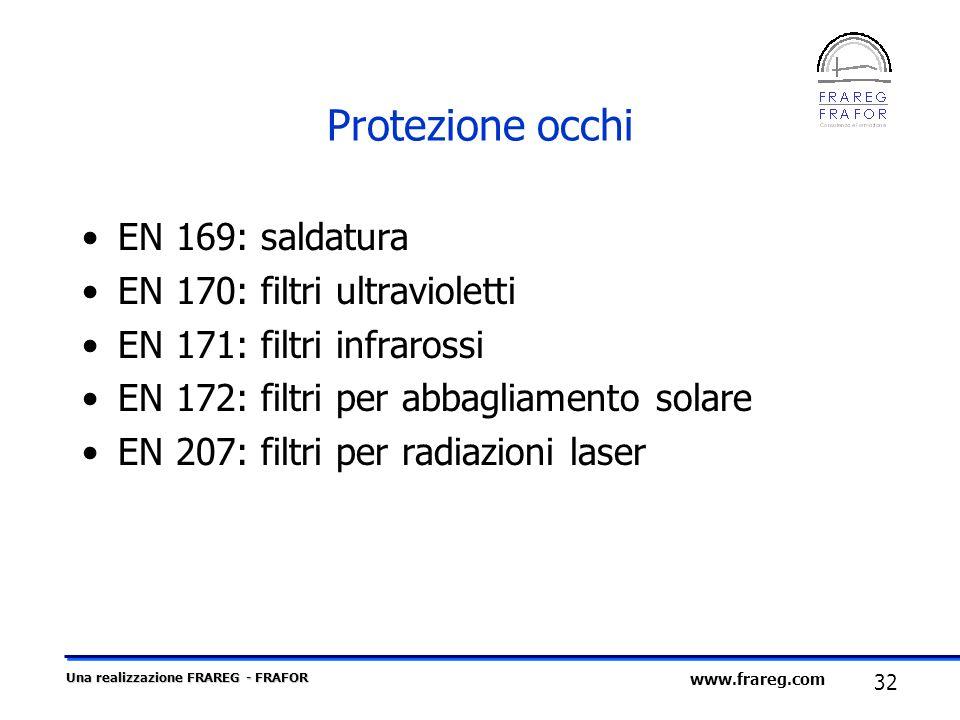 Protezione occhi EN 169: saldatura EN 170: filtri ultravioletti
