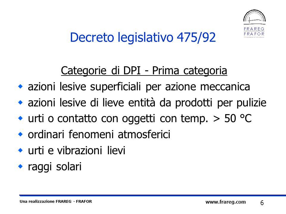 Categorie di DPI - Prima categoria