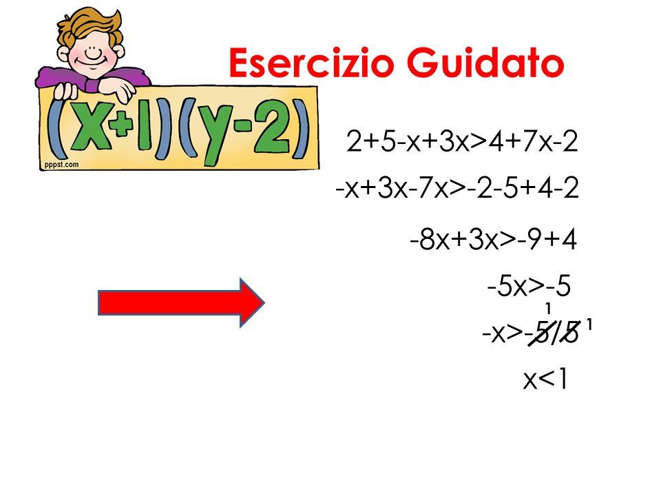 Esercizio Guidato 2+5-x+3x>4+7x-2 -x+3x-7x>-2-5+4-2