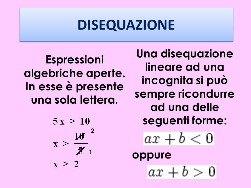 Espressioni algebriche aperte. In esse è presente una sola lettera.