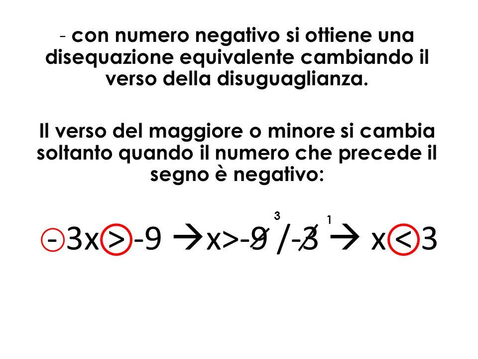 - 3x > -9 x>-9 /-3  x < 3
