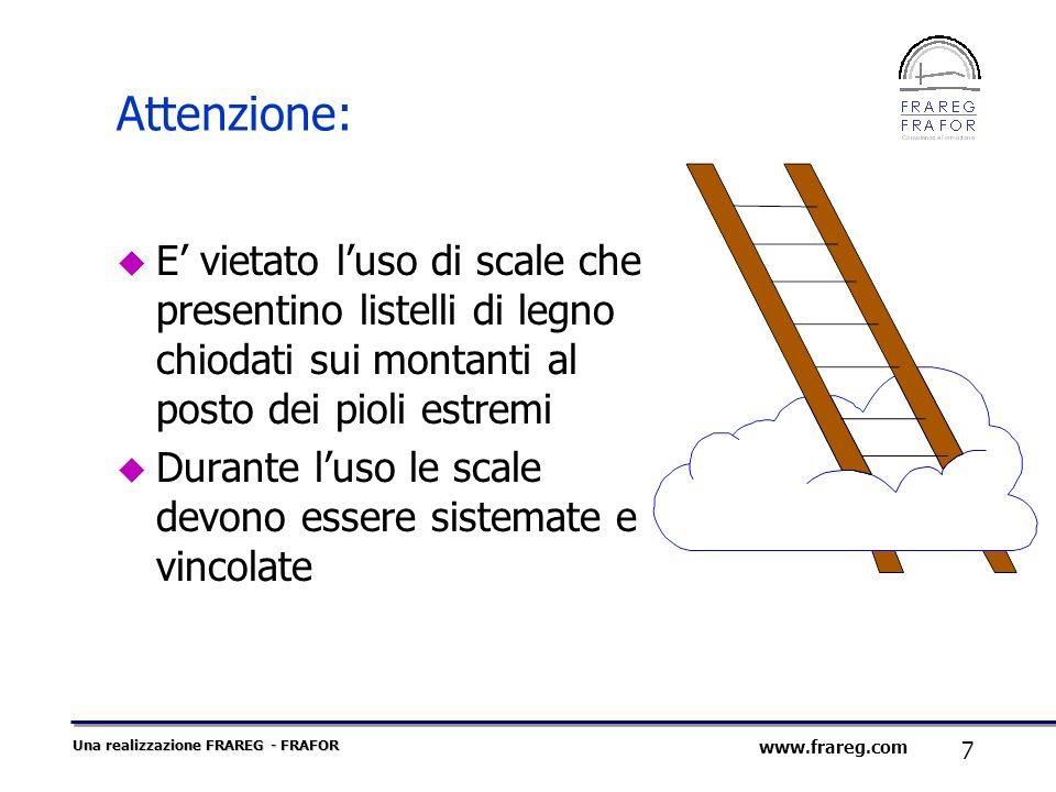 Attenzione:E' vietato l'uso di scale che presentino listelli di legno chiodati sui montanti al posto dei pioli estremi.