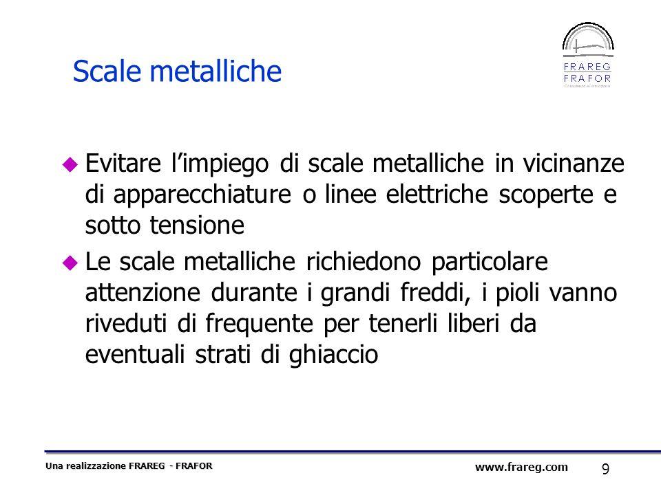 Scale metalliche Evitare l'impiego di scale metalliche in vicinanze di apparecchiature o linee elettriche scoperte e sotto tensione.