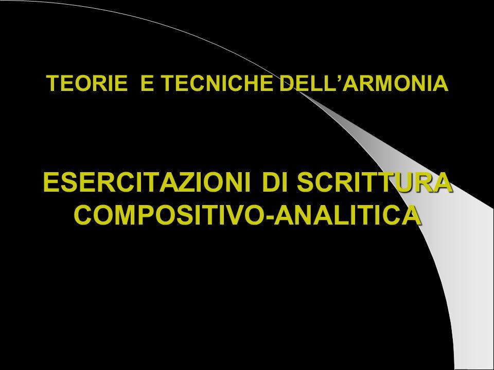 TEORIE E TECNICHE DELL'ARMONIA ESERCITAZIONI DI SCRITTURA COMPOSITIVO-ANALITICA