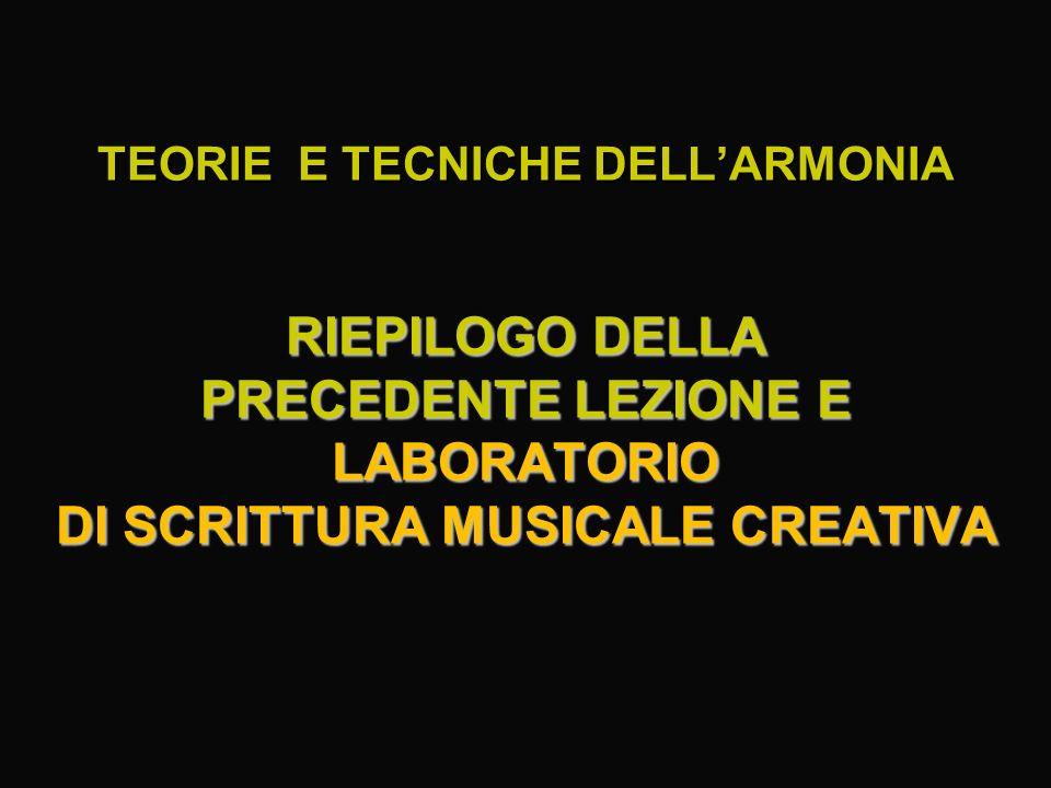 TEORIE E TECNICHE DELL'ARMONIA RIEPILOGO DELLA PRECEDENTE LEZIONE E LABORATORIO DI SCRITTURA MUSICALE CREATIVA