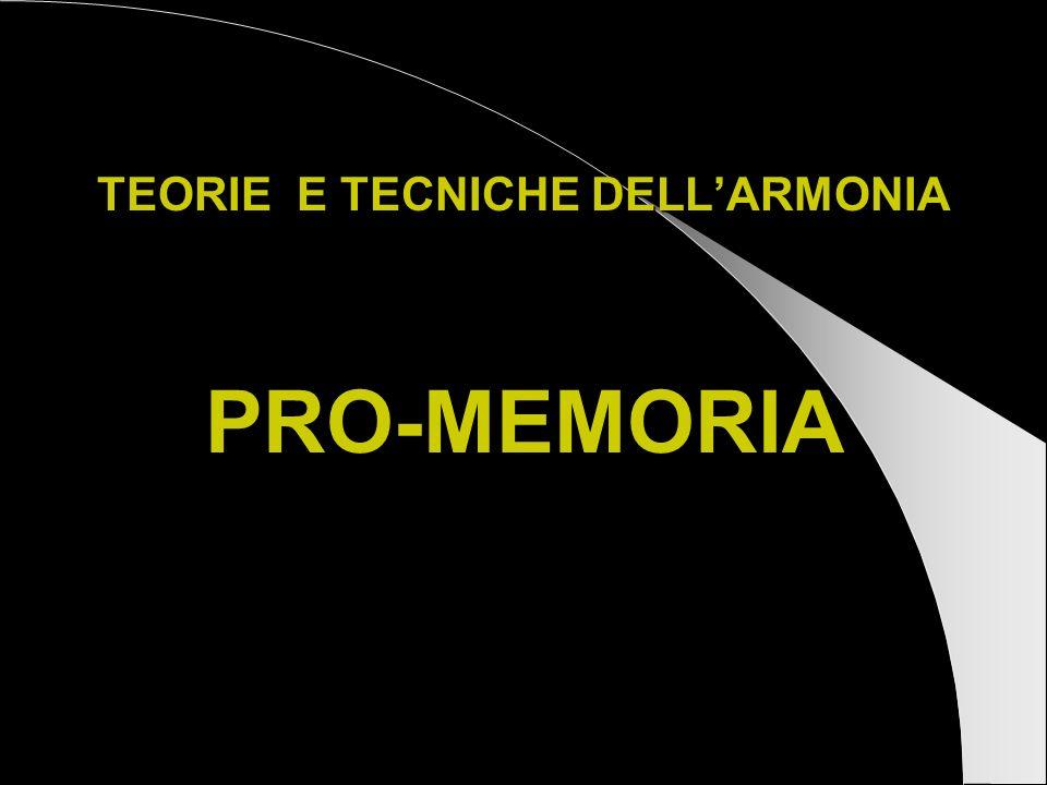 TEORIE E TECNICHE DELL'ARMONIA PRO-MEMORIA
