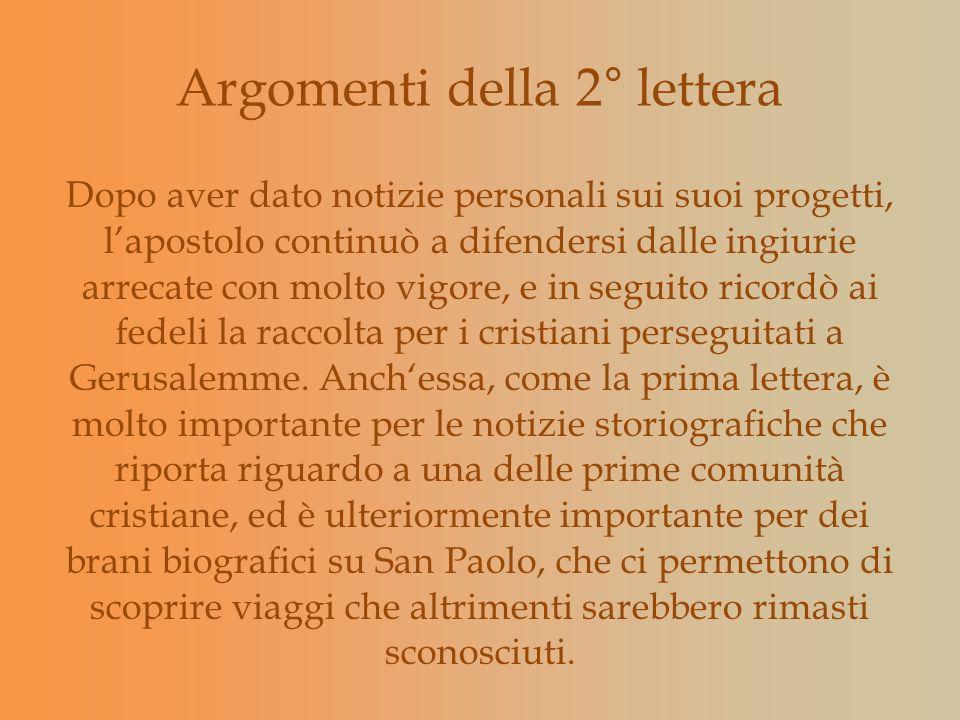 Argomenti della 2° lettera