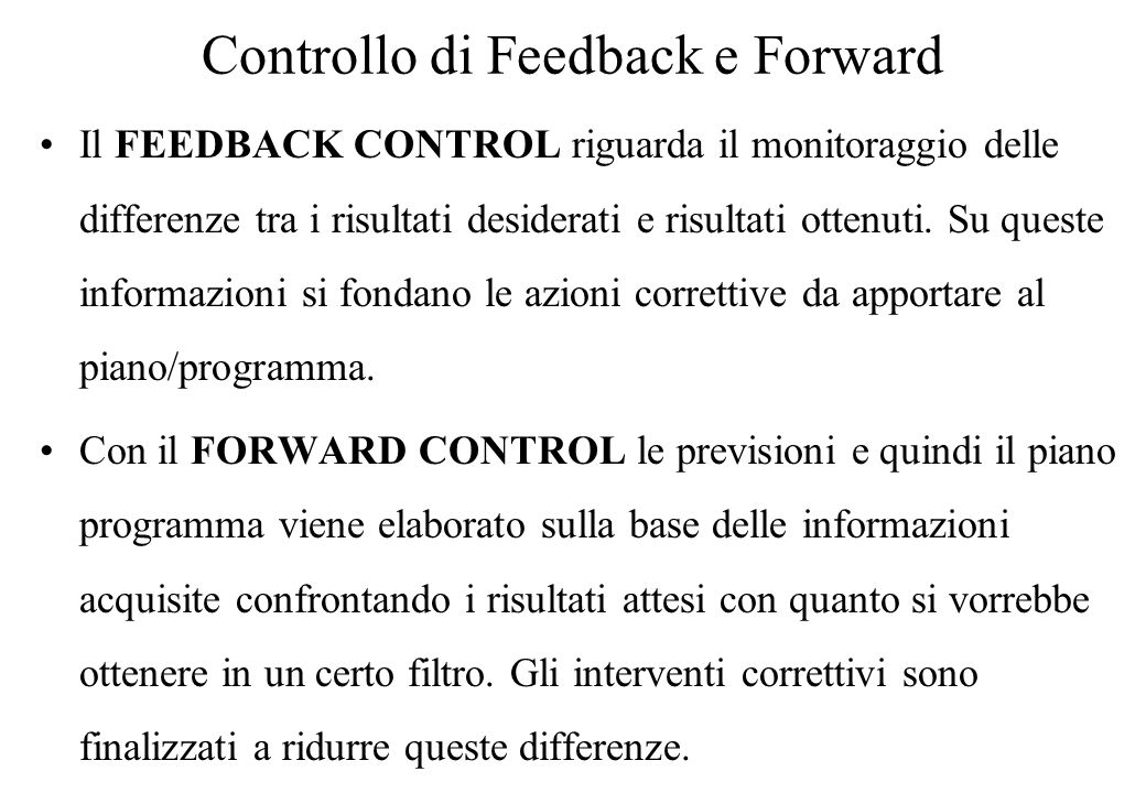 Controllo di Feedback e Forward