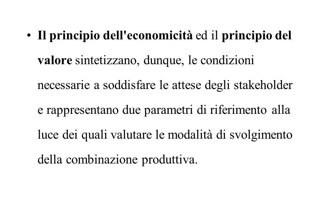 Il principio dell economicità ed il principio del valore sintetizzano, dunque, le condizioni necessarie a soddisfare le attese degli stakeholder e rappresentano due parametri di riferimento alla luce dei quali valutare le modalità di svolgimento della combinazione produttiva.