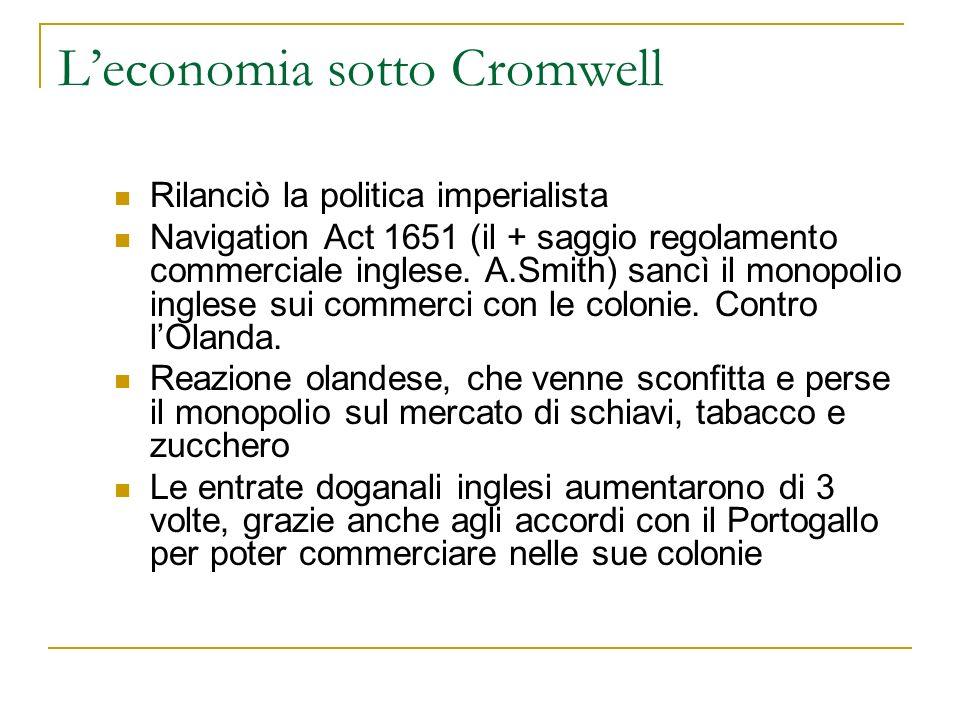 L'economia sotto Cromwell