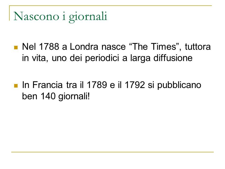 Nascono i giornali Nel 1788 a Londra nasce The Times , tuttora in vita, uno dei periodici a larga diffusione.
